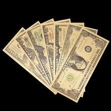 7 pçs/lote Coleção Dinheiro de Papel de Notas de Dólar Notas Falsas para Decoração de Casa Presente EUA América Da Folha de Ouro Banknote