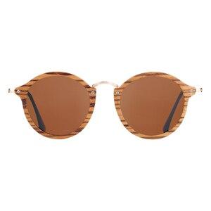 Image 4 - BARCUR Zebra Wood Sunglasses Handmade Round Sun Glasses Men Polarized Eyewear with Box Free