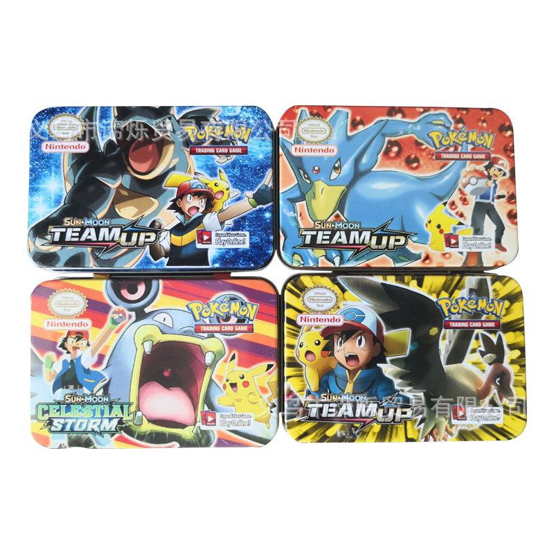 42pcs TAKARA TOMY Pokemon Card Team Up Children's  Collection Pokemons VIP Yugioh Cards Bling Metal Boxed Toys Playing