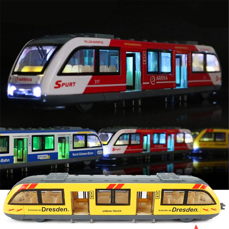 1:64 Magnetic Pull Back Alloy Connected Subway Metro Track Train Alloy Model Toys Sound & Light Car Collection