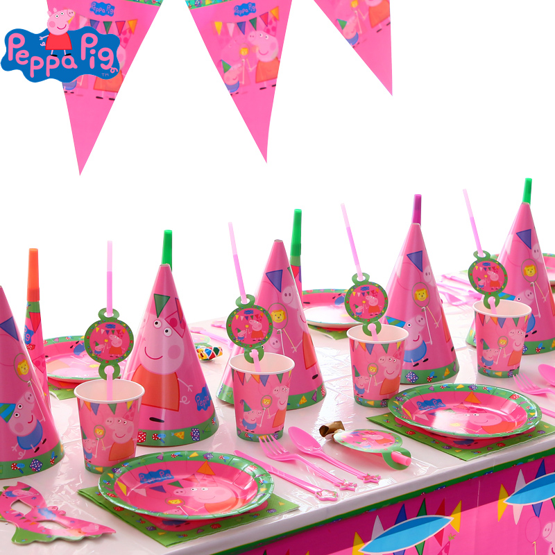 New Peppa Pig Birthday Party Sets Anime Figure Party Decoration Supplies Cup Hats Spoon ActivityKids Birthday Gifts