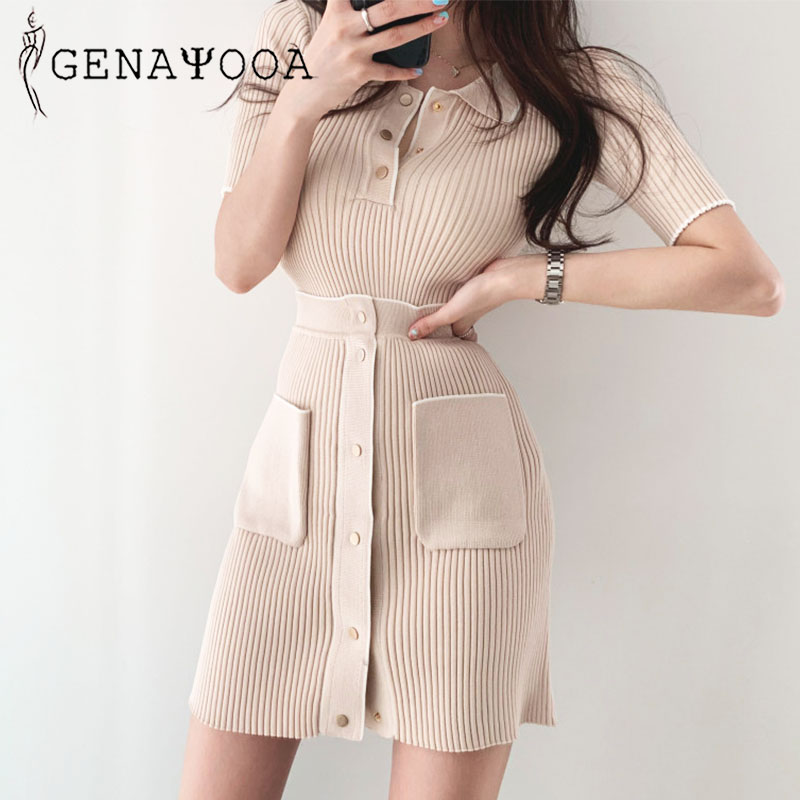 Genayooa Office Lady Skirt Set Woman Summer Polo Tshirt Mini Skirt Two Piece Set Stretch 2 Piece Set Women Two Piece Outfits