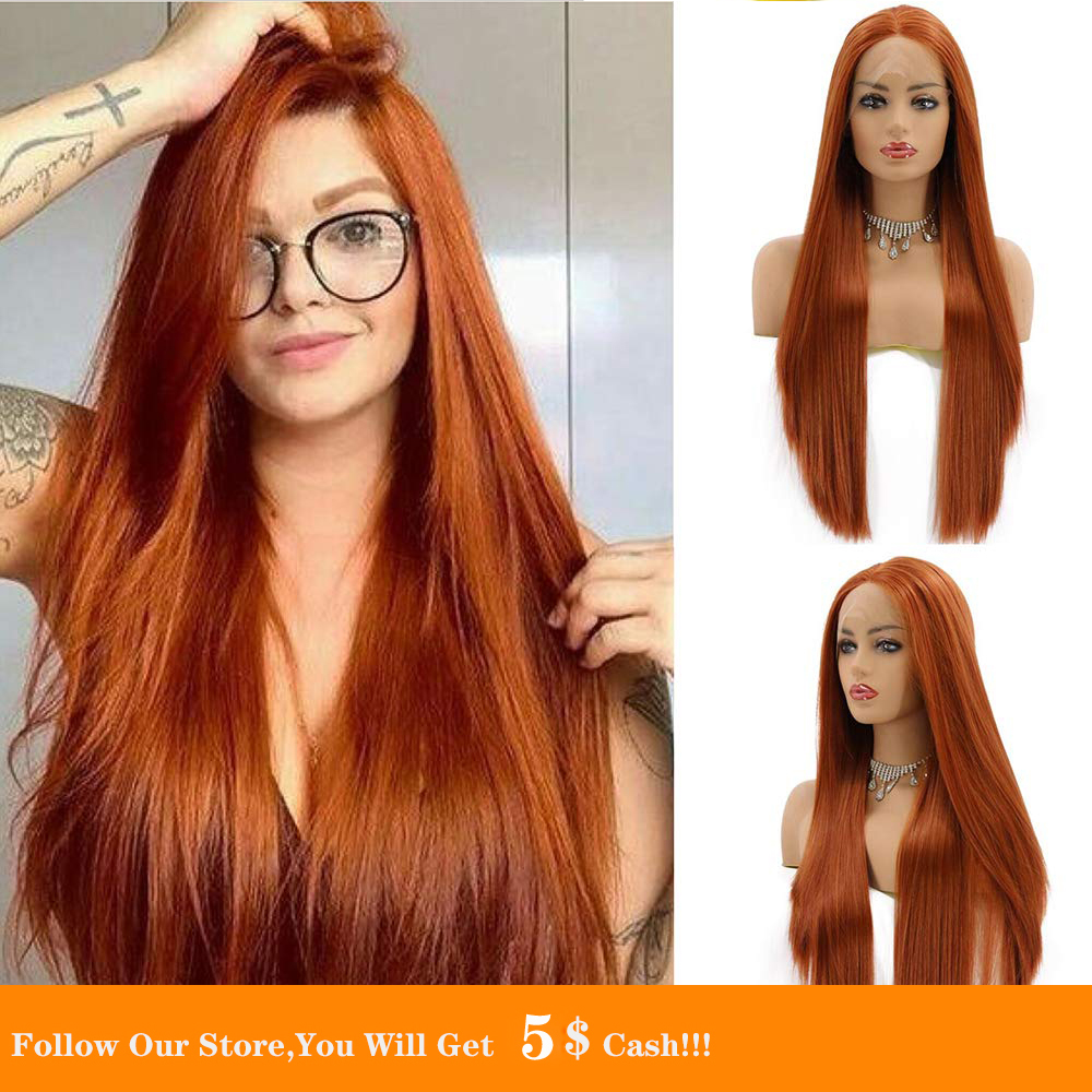 Synthetic Lace Front Wigs 26 Inch Long Silk Straight Copper Color Hair Heat Resistant Fiber Wig Natural Looking For Black Women
