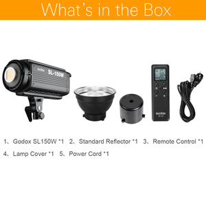 Image 2 - Осветитель Godox SL 150W SL150W 150WS, 5600 К с ЖК панелью, светодиодный видеосвет, студийный осветитель с постоянным выходом и байонетом Bowens