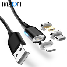 LED Magnetic Cable Micro Usb Type C Super Fast Charging Cable For iphone Samsung Xiaomi Huawei Usb C USB Cable Charger Cord elough magnetic charging usb cable for iphone charger micro usb cable type c led usb magnetic cable usb c for xiaomi charger