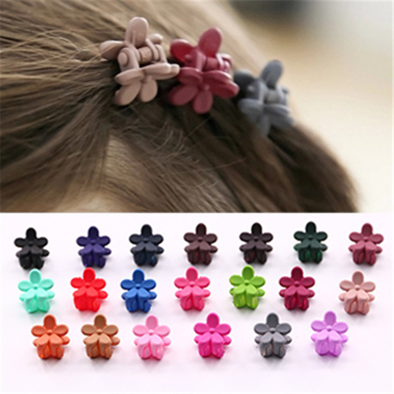 50 PCs/Lot Fashion Baby Girls Small Hair Claw Cute Candy Color Flower Hair Jaw Clip Children Hairpin Hair Accessories Wholesale