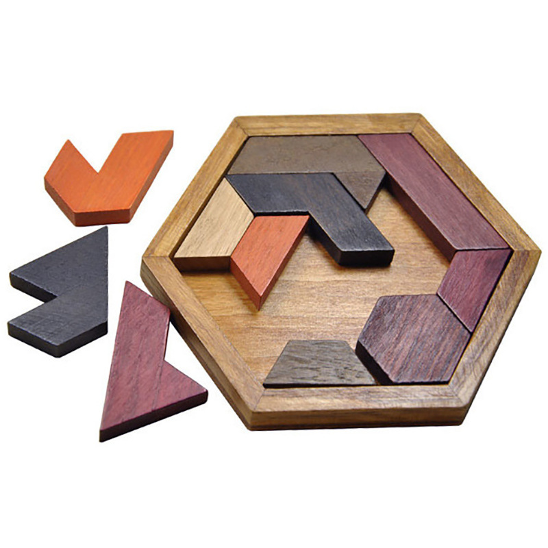 2015 new arrival Wooden Tangram Brain-Teaser Puzzle Tetris Preschool Magination Intellectual Educational Toy Game Baby Child