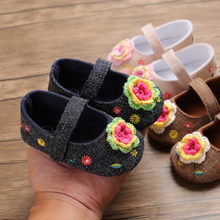 Newborn Baby Girls First Walkers Soft Sole Toddler Colorful Flowers Toddler shoes soft bottom baby color flower casual shoes(China)