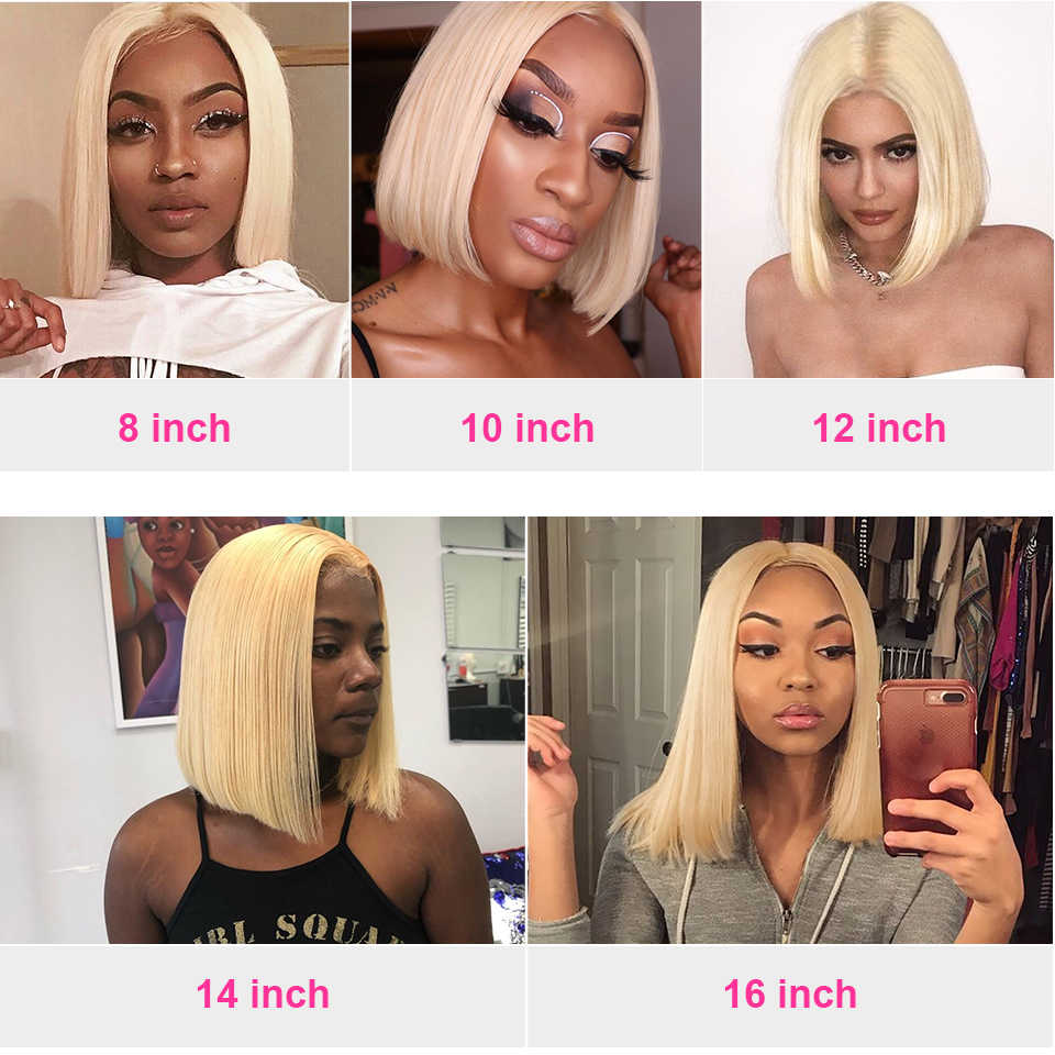 Perruque Bob Lace Frontal wig 613 Deep Part naturelle-Mealid | Cheveux courts, blond ombré 150%, 13x6, pre-plucked, HD