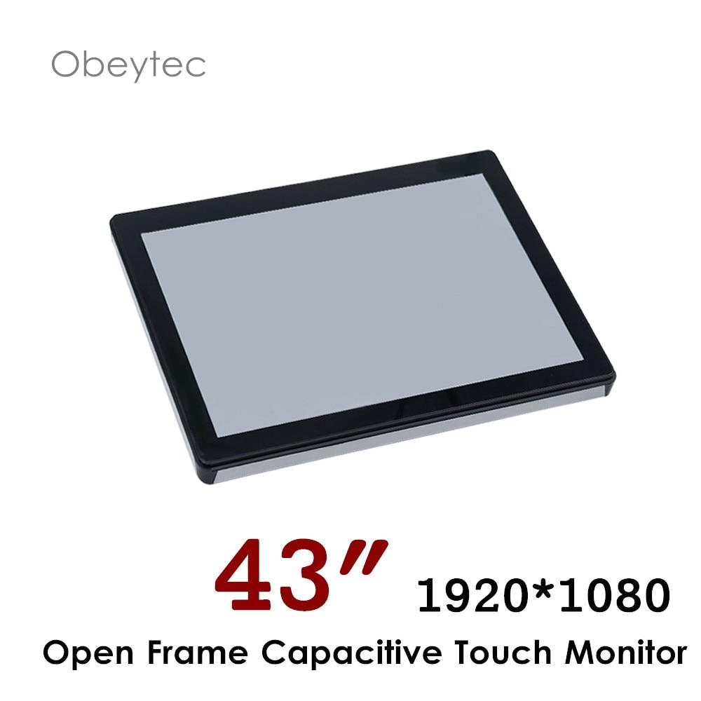 Moniteur capacitif projeté d'écran tactile de 43 pouces, moniteur ouvert de cadre de FHB, 1920*1080 350cd/m2, OB-OPM430