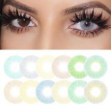 1 par colorido lente de contato para os olhos beleza uso anual hidrocor azul cinza verde olho colorido lentes dos olhos contatos para cosplay