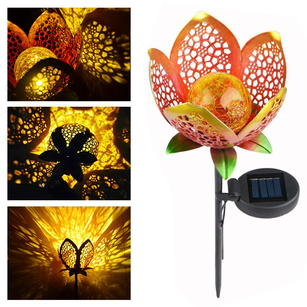 Garden Solar Lights Outdoors Pathway Hollow Flower Stake Lights Waterproof Landscape Led Decorative Light for Patio Walkways Cou
