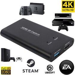 KuWFi USB3.0 HDMI 4K60Hz видеозахвата HDMI к USB карта видеозахвата Dongle игра потоковая прямая трансляция с MICinput