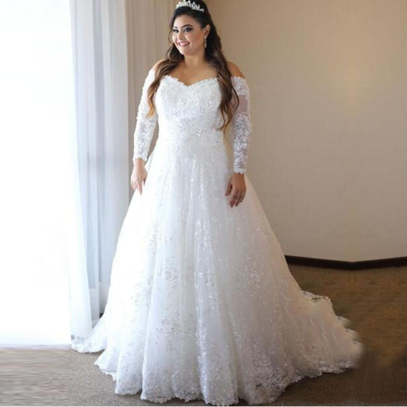 Eightale Plus Size Wedding Dress V-Neck Appliques Lace Long Sleeves Beaded White Ivory Wedding Gowns Beach Bridal Dress