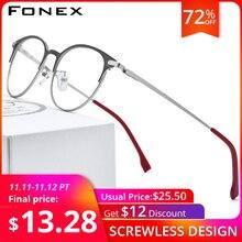 إطار نظارات من خليط معدني من FONEX للرجال والنساء فائق الخفة نظارة طبية دائرية بإطار بصري عتيق نظارة بدون مسامير طراز 988