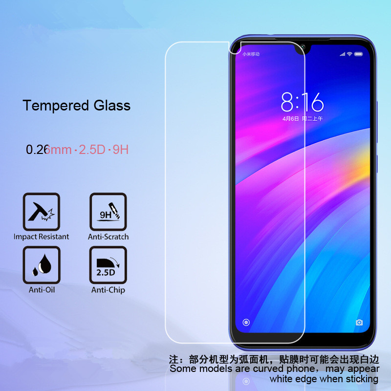 2 Pcs 0.26 Mm Cell Phone Tempered Glass Screen Protector For Xiaomi Redmi 7 7a GO K20 K20pro Y3 Note 7s