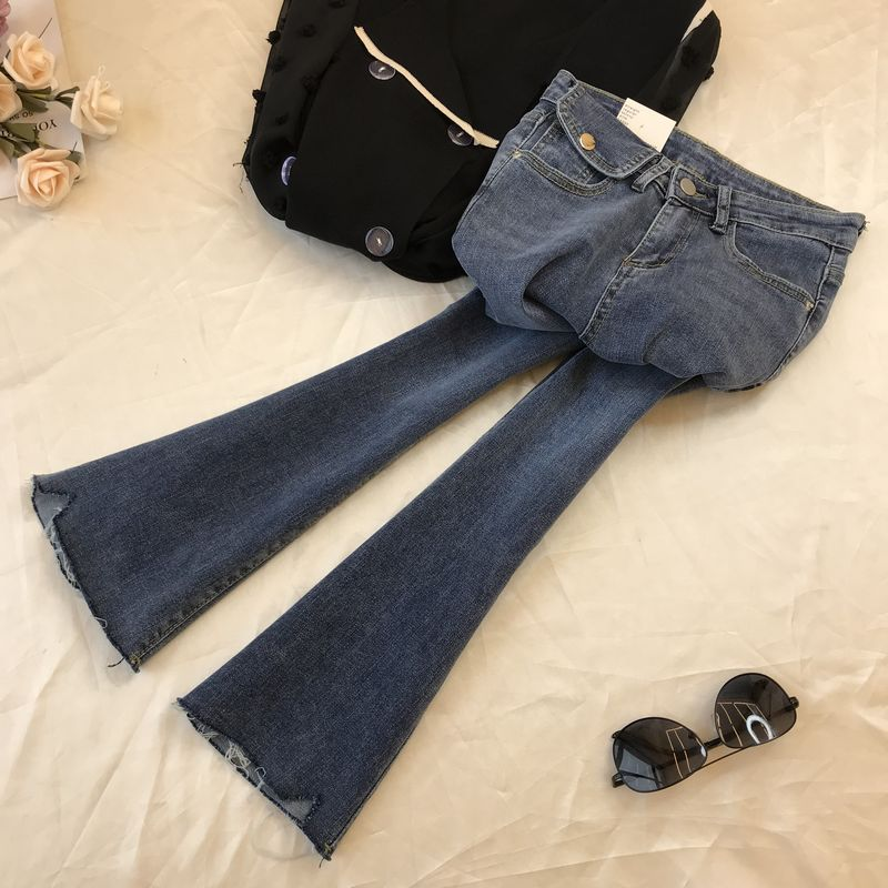 Western Style INS Pocket Trumpet Jeans Women's Spring And Summer 2020 New High-waisted Korean-style Denim Pants Blue Jeans