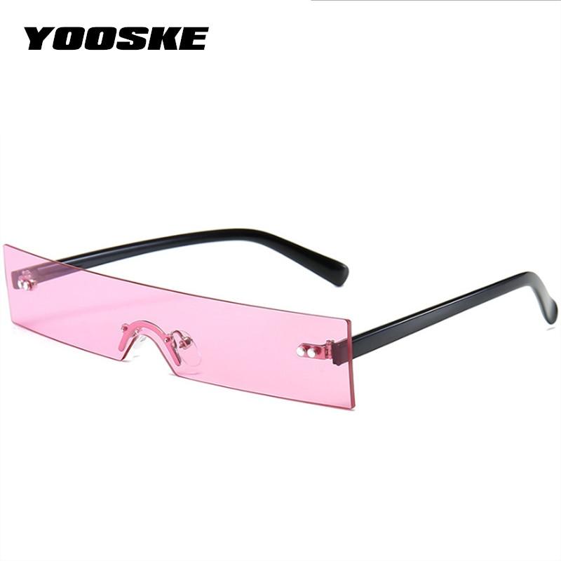YOOSKE Brand Rimless Sunglasses Women Luxury Designer Rectangle Sun Glasses Men Vintage Blue Pink Glasses Ladies UV400 Mirror