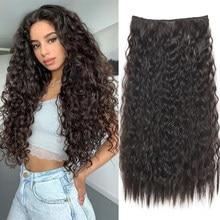 Длинные волнистые синтетические накладные волосы XINRAN на 5 зажимах, накладные пряди из высокотемпературного волокна, черные, коричневые шин...