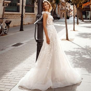 LORIE Elegant Lace Wedding Dress 2020 Vestidos de novia Spaghetti Straps Sexy Bridal Gown Backless Gowns