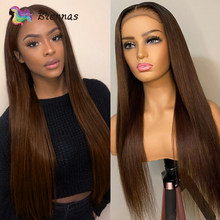 Straight 4x4 Closure Lace Human Hair Wigs For Women Straight Brown Color 13X1 T part lace wig Pre Plucked Brazillian Remy hair