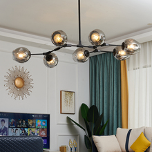 Nordic LOFTแก้วโคมไฟระย้าLEDโมเดิร์นโคมไฟห้องนอนห้องนั่งเล่นห้องรับประทานอาหารVillaแขวนลูกครัวLusterแสง