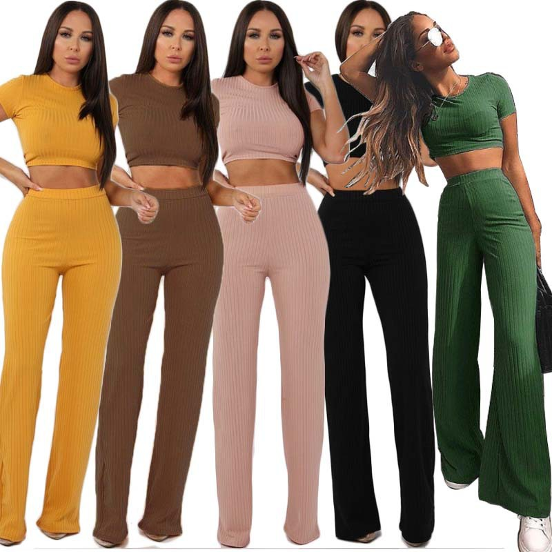 2019 New Fashion Casual Suit Female Europe And America High Elastic Cotton Pit Wide Leg Pants Two Sets