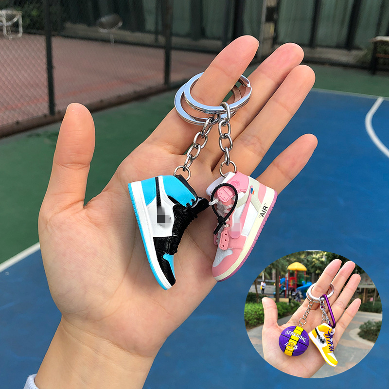 Creative 3D Mini Basketball Shoes Stereoscopic Model Keychains Sneakers Enthusiast Souvenirs Keyring Car Backpack Pendant Gift