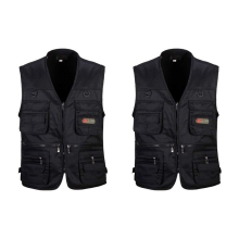 2 Pcs Men's Fishing Vest with Multi-Pocket Zip for Photography / Hunting / Travel Outdoor Sport Blac