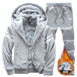 Hoodie Suit Men's 2019 Autumn & Winter New Style plus Velvet Warm Two-Piece Set Men Fashion & Sports Set 9915