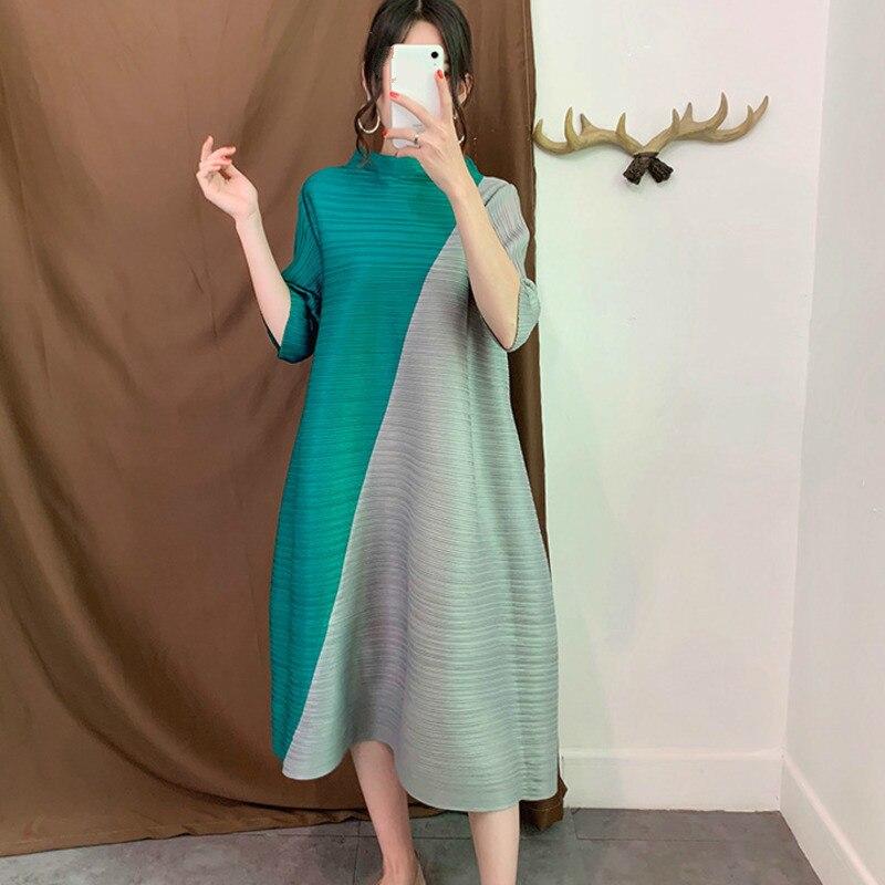 LANMREM bleu un-cou col à sept points manches contraste plis lâche Plus femme robe décontracté mode 2019 automne nouveau TD059