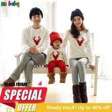 Рождественский семейный свитер; одежда; цвет красный, белый; Одинаковая одежда для семьи с оленем; одежда для мамы, дочки, сына, папы и ребенка; Familia