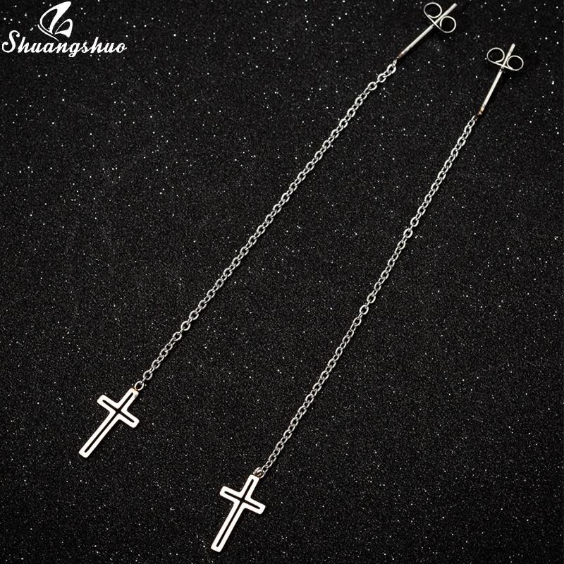 Shuangshuo милые висячие серьги с крестом для женщин из нержавеющей стали длинная цепочка с крестом Подвесные серьги для девушек в стиле панк св...