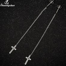 Dangle Earrings Cross-Pendant Long-Chain Wedding-Gifts Stainless-Steel Girls Women Shuangshuo