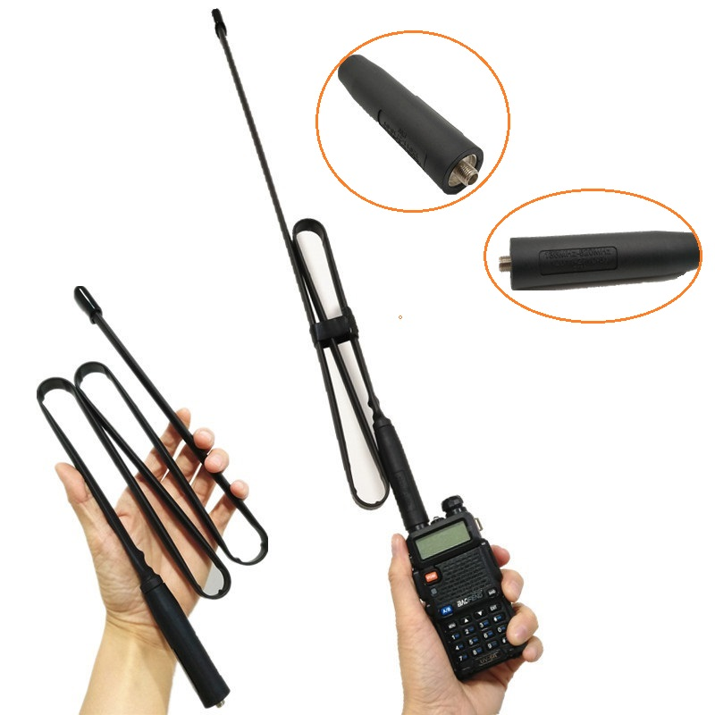SMA-Female Foldable CS Tactical Walkie Talkie Antenna For Baofeng UV-5R UV-82 BF-888S VHF UHF 144/430Mhz Ham Radio UV-5RA UV-5RE