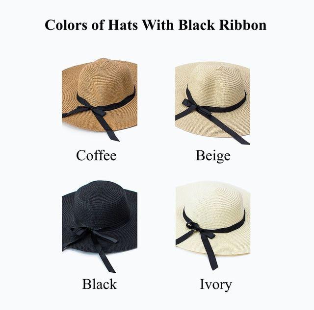 Personalized floppy hat with black ribbon, custom beach hat bridesmaid gift honeymoon wedding bachelorette trip bridal party