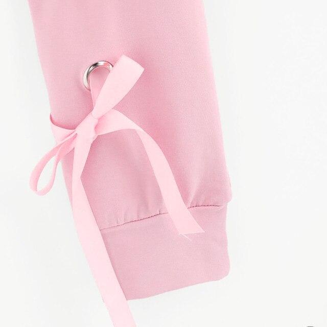 Women Crop Top Hoodie Casual Lace Up Long Sleeve Pink Bandage Pullover Cropped Top Sweatshirt Sweat Korean Femme Streetwear 4