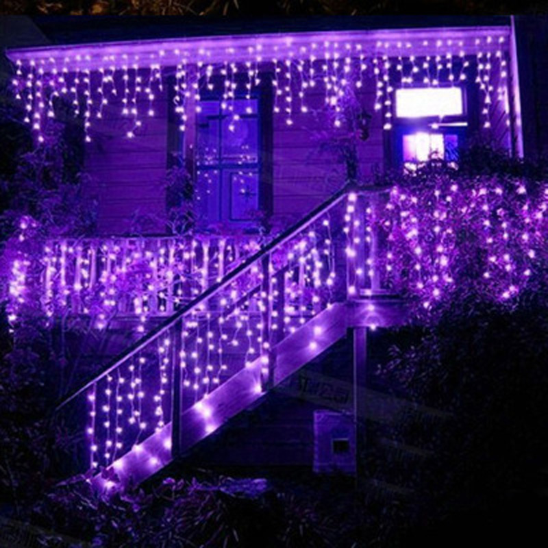3.5m 100 Purple LED Holiday FAIRY CHRISTMAS Lights String Strip Icicle Lights For PARTY WEDDING BEDROOM Decoration,Free Shipping