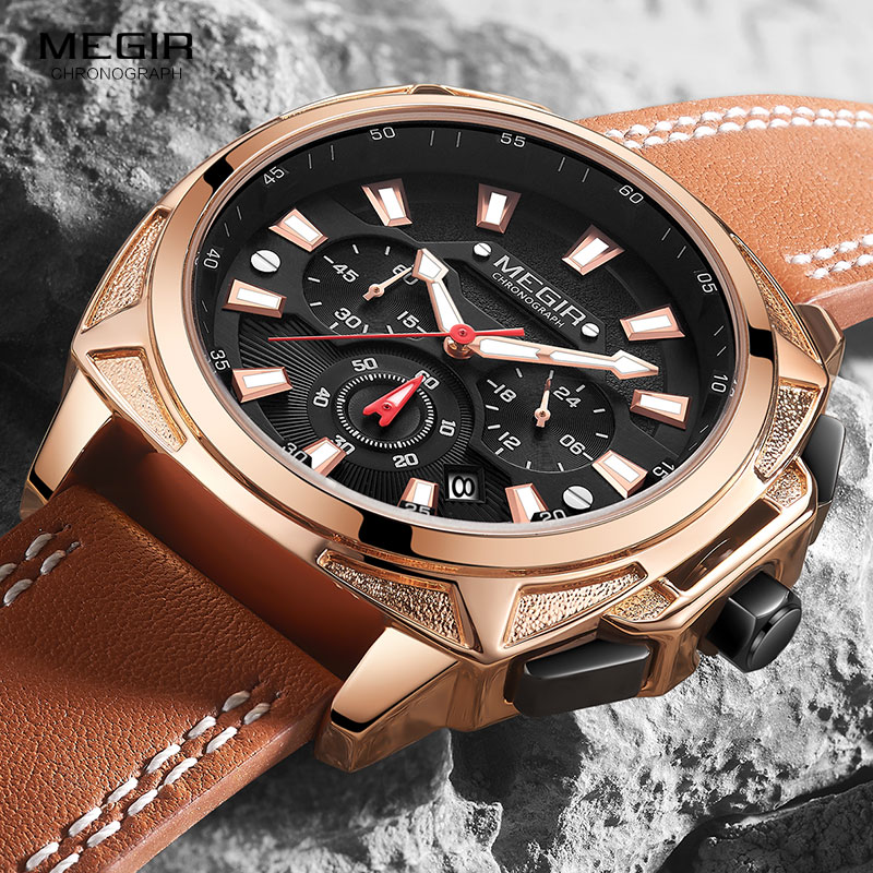Top Brand Luxury <font><b>MEGIR</b></font> Creative Men Watch Chronograph Quartz Watches Clock Men Leather Sport Army Military Wrist Watch Saat <font><b>2020</b></font> image