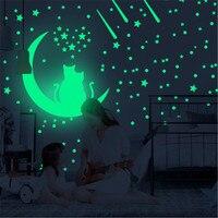 100 Uds brillan en la oscuridad estrellas Dot pegatinas de pared de dormitorio de bebé luminosa pegatinas para pared en forma de estrellas para chico habitación fluorescente para techo Decoración