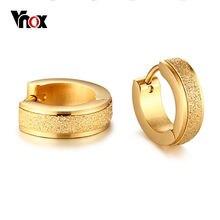 Vnox маленькие тонкие серьги кольца для женщин круги пескоструйная