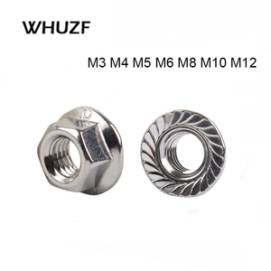 10/25/50/55pcs Stainless Steel Hexagon Flange Nut M3 M4 M5 M6 M8 M10 M12 201S 304S Stainless Steel Flange Nut DIN6923