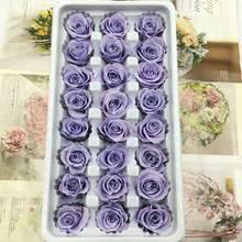 24pcs/box Preserved Flowers Rose Flower Immortal 2-3CM diameter mothers day gift Eternal Life Material Gift Box Level B