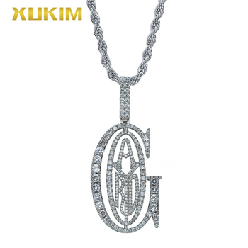 IPM811 Xukim Jewelry Letter GAD Gold Pendant Necklace Hip Hop Iced Out Silver Pendant Necklace Men