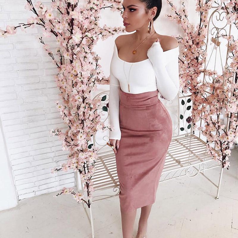 Sexy Womens High Waist Pencil Skirts Wrap Ladies Elegant Skirt 2020 New Slim Skirt Party Club Pure Color Skirts