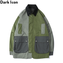 Dark Icon Turn-down Collar Pockets Jacket Men Harajuku Mens Jackets Cargo for