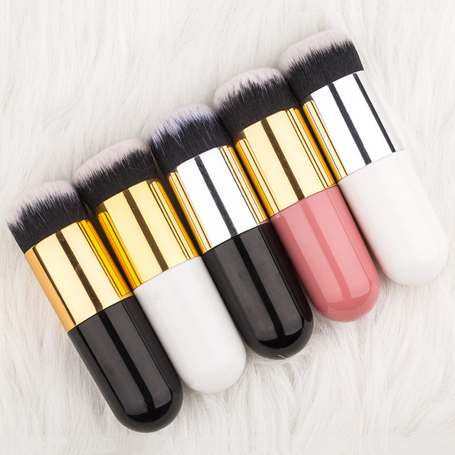 1pc Professional Chubby Pier Foundation Brush 5Color Makeup Brush Flat Cream Makeup Brushes Professional Cosmetic Make-up Brush 5
