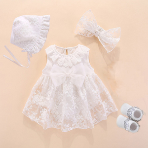 New Born Baby Girls Infant Dress&clothes Summer Kids Party Birthday Outfits 1-2years Shoes Set Christening Gown Baby Jurk Zomer(China)