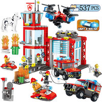 537pcs City Police Fire Truck Fire Motorcycle Building Blocks Legoing City Department Helicopter Boat Figures Bricks Childs Toys
