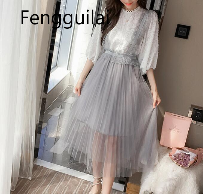 New Fashion White Embroidery Lace Mesh Women Long Sleeve Elegant Dresses Set Sexy O-Neck Elegant Mini Loose Party Dress 2 Pieces